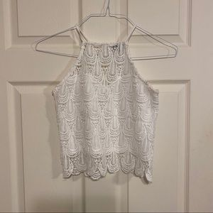 Charlotte Russe white laced cropped tank top